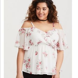 Torrid Floral Chiffon Surplice Cold Shoulder Top